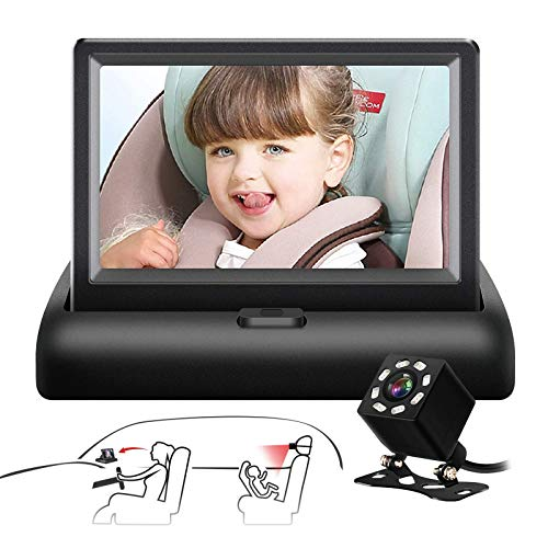 Baby Car Mirror SAMFIWI Car Seat Mirror Camera and Monitor with Infrared Night Vision Best Baby Monitor and Camera for Baby Car Seat Rear Facing (black)