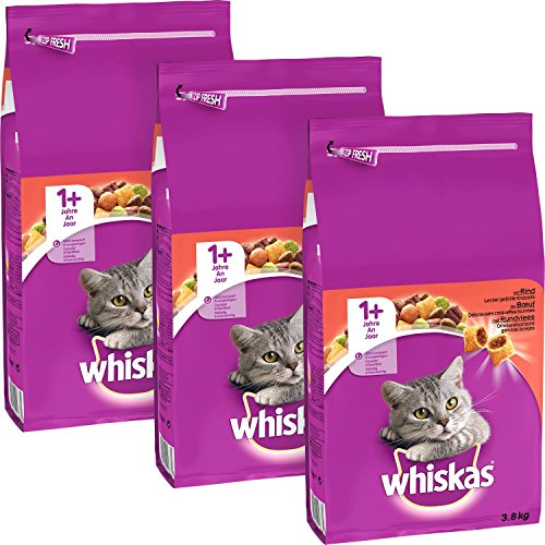 whiskas Trockenfutter mit Füllung für Katzen (3x3,8kg)