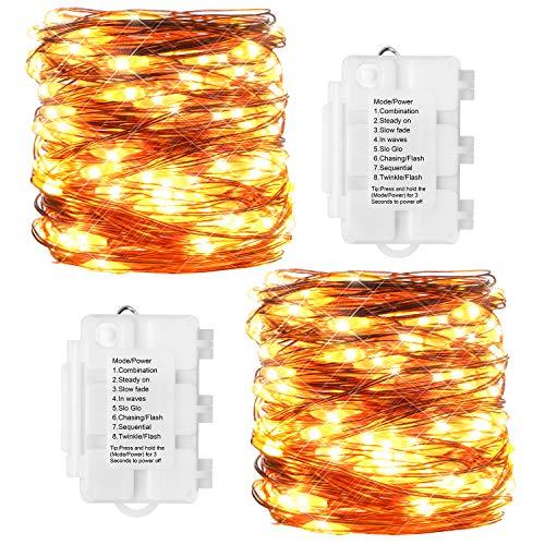 KooPower 2stk 100er LED Lichterkette Batterienbetrieben Warmweiß, Kupferdraht Lichterkette 8 Modi, TIMER-Funktion, IP65 Wasserdicht für Outdoor, Garten, Weihnacht.