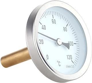 Tykeed 63mm Horizontal Dial Aluminum Temperature Gauge 0-120°C 1/2 BSP Screw Diameter
