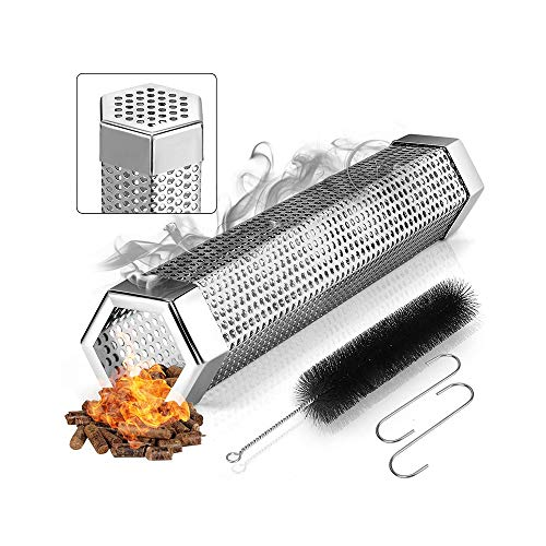 FJSC Pellet Smoker Tube, 12 Inch Stainless Steel Wood Pellets Smoke Tube for Hot or Cold Smoking, BBQ Smoke Generator Tubes Works with Any Grill and Smokers