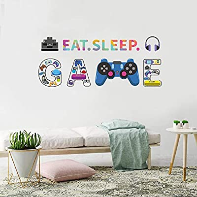 Game Wall Sticker, Creative Game Controllers Vinyl Wall Decal, Eat Sleep Game Wall Art Poster for Kids Children Bedroom Playroom Net Bar, Gamer Boys Video Game Controller Sticker for Boys Wall Decor by Poorminer