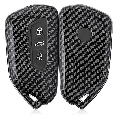 kwmobile Autoschlüssel Hülle kompatibel mit VW Golf 8 3-Tasten Autoschlüssel - Hardcover Schutzhülle Schlüsselhülle Cover Carbon Schwarz