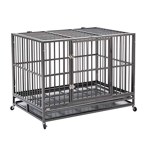 pet crate with wheels walnest Dog Cage Crate Kennel Heavy Duty Double Door Pet Cage with Metal Tray Wheels Exercise Playpen (48