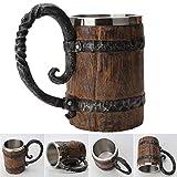 Taza de cerveza de resina de calavera de cuerno retro, jarra de acero inoxidable con calavera de caballero, taza de café, taza de té vikingo, decoración de Bar Pub