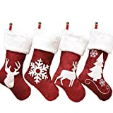 Calcetines navideños de 4 piezas con bordado en forma de reno, muñequeras de peluche, chimenea, calcetines colgados, universales para todas las estaciones, para Halloween
