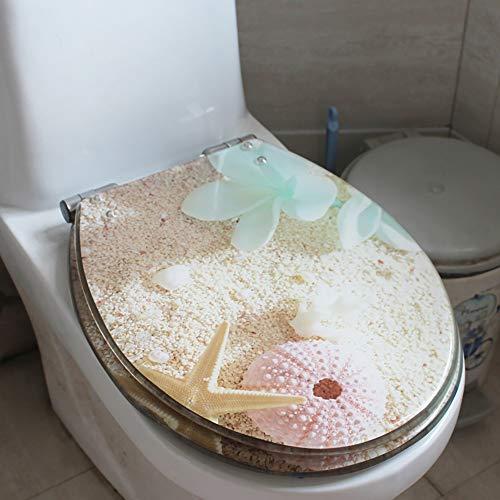 Lin-Yo Abattant pour WC,Nettoyage Facile Cuvette WC Anti-Bactérienne et Amovible - Système innovant de Fermeture en Douceur,Nettoyer Magnifique Siège de Salle de Bain Imprimé
