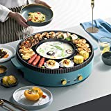 TWSOUL 1700W 2.8L Electric Smokeless Grill and Hot Pot, Independent Dual Temperature Control, Easy to Clean BBQ & Shabu...