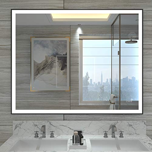 HAUSCHEN 32x40 inch Black Framed LED Lighted Bathroom Wall Mounted Mirror with High Lumen+CRI 95 Adjustable Color Temperature+Anti-Fog Separately+Dimmer Function+IP44 Waterproof+Vertical & Horizontal