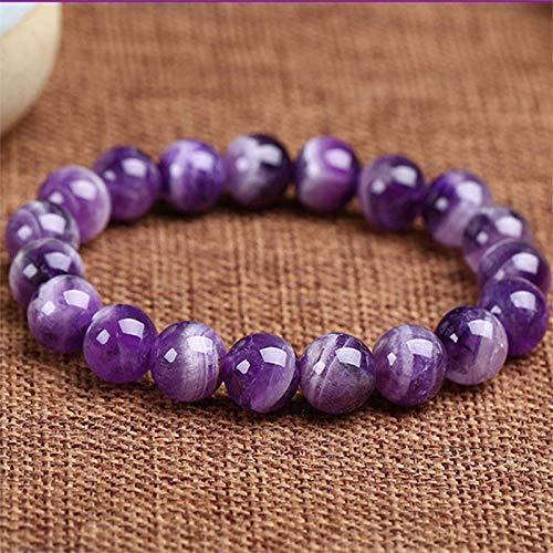 Purification Bracelet - Handmade Natural Semi-Precious Amethyst Bracelet - Stone Beaded Stretch Bracelet 8mm - Gemstone Round Beads Natural Stone Yoga Bracelet -
