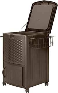 Suncast Resin Wicker Outdoor Cooler with Wheels - Portable Outdoor Bar Cart to Store Ice, Drinks, and Frozen Treats - Stor...