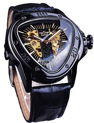 Winner Reloj de pulsera automático de moda de oro negro triángulo deporte carreras Dial...