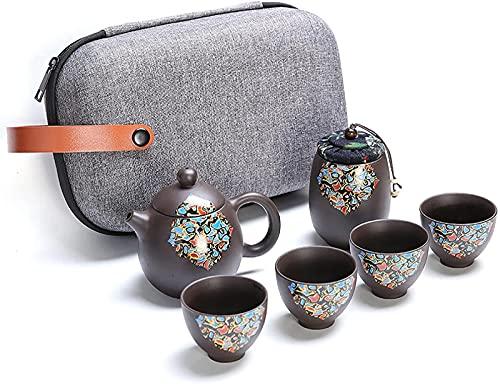 Juego de Tetera Juego de té de Kungfu de cerámica portátil Juego de té de Kungfu de Viaje Juego de té Yixing Zisha Hecho a Mano Tetera de Arcilla púrpura Tetera de cerámica Tazas de té