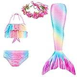 PaisDola Cola de Sirena niña para Nadar Incluido Traje de Sirena baño de Bikini de 3 Piezas y Diadema con guirnaldas de Flores (Gb15,130)