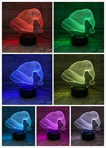3D nachtlampje kerstmuts nachtlampje de optische illusie 3D/bedlampje voor kinder/binnenverlichting/tafel- en nachttafellampje/kindergeschenk Raak deze aan.