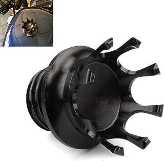 Easygo Aluminum Clockwise Thread Reservoir Gas Tank Cap Vented Fuel Tank Cover Caps Universal for Harley Custom (Black)