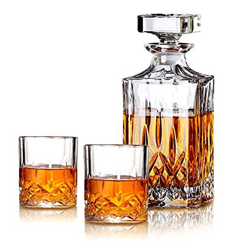 Juego de regalo de whisky MIWU – Decantador de 700 ml con tapón de vidrio, 2/4/6 copas de whisky, idea perfecta como regalo para papá (2tazas)