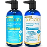 PURA D'OR Hair Thinning Therapy System - Biotin Shampoo & Conditioner Set for Hair Thinning Prevention With Natural Ingredients for All Hair Types, Men and Women (Packaging may vary)