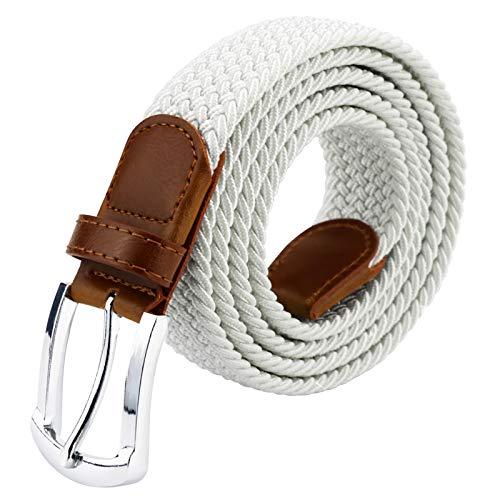 Maikun Braided Belt for Mens, Mens Belt, Woven Stretch Belt with Leather Tip (White, 100cm long)