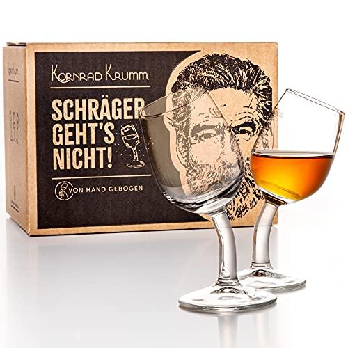 Kornrad Krumm - Schräger geht\'s Nicht | Schnapsgläser-Set mit Stiel (6xStück), 4cl, Handgebogen in DE