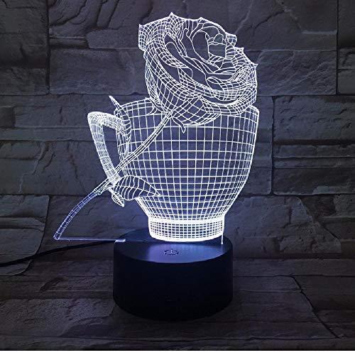 Rose Cup 3D nachtlampje LED 7 kleurverandering romantische tafellamp USB sfeerlamp van acryl voor decoratie voor feestjes thuis, romantische cadeaus voor kinderen en vrienden