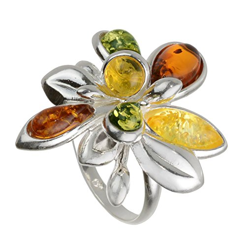 HolidayGiftShops Sterling Silver and Baltic Amber Multicolor Ring Brigitte- Size 8