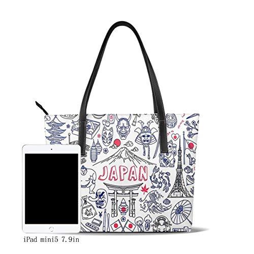 OMNVEQ Bolso de Mano Grande para Mujer japonés, Tote Bag Shopper Cuero de La PU Bolso de Hombro Gran Capacidad Bolso de Compras Asa Larga