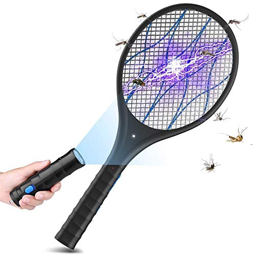BOYON Electric Bug Zapper Racket, Rechargeable Fly Swatter Tennis Racket, 3,800Volt Handheld Mosquito Killer, 2 LED Light, Removable Flashlight to Zap in The Dark, 4 Layer Safety Mesh Safe to Touch