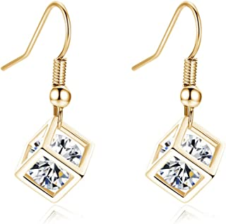 YAZILIND Earring Cube Dangle Drop Earrings for Women with Crystals Birthday Valentine Anniversary