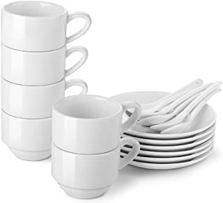 LIFVER Espresso Cups with Saucers and Spoons, 3- Ounces Stackable Espresso Coffee Cup Set, Porcelain Demitasse Cups, Set of 6, White