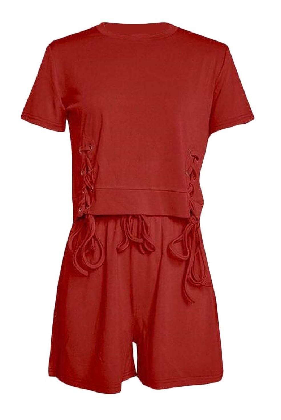 水平発症取り除く女性の2ピースショーツセットセクシースポーツ半袖作物トップショーツの衣装
