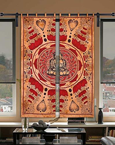 GDONLINE Indian Mandala Buddha Printed Window Curtain Wall Hanging Meditation Lotus Buddha Cotton Mandala Curtain Wall Drapes Decoe Wall Hanging Window Treatment Set