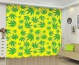 Marijuana Leaf Blackout Curtains for Bedroom Green Leaves Weed Seamless Yellow Cannabis Drugs Marijuan Drapes Window Black Out Sliding Door Set of 2 Panels Set Heat Blocking Nursery 108 X 84 Inch Long