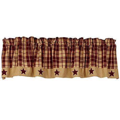 "The Country House Collection Burgundy Farmhouse Star Valance (72x14"")"