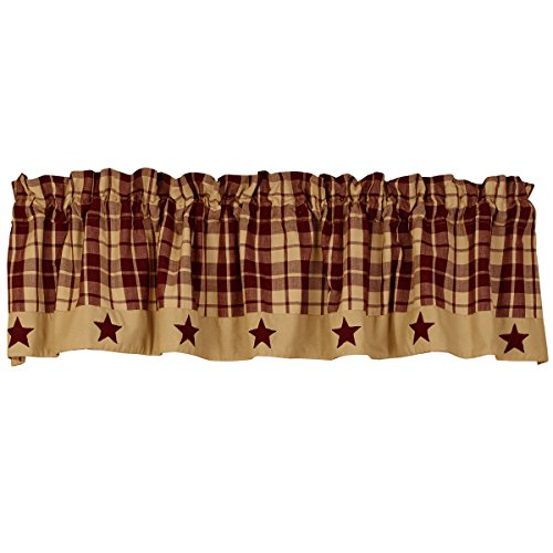 "The Country House Collection Burgundy Farmhouse Star Valance (72x14"")"
