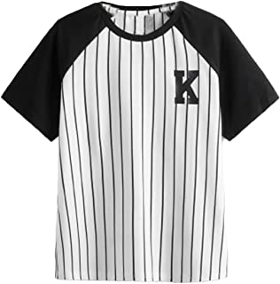 SOLY HUX Boy's Striped Short Sleeve T Shirt Letter Print Tee Top