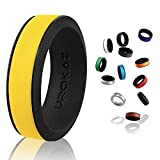 UROKAZ Silicone Wedding Ring Blue line Brands Cover Custom Customizable Customized Firefighter Glow in The Dark Made USA Military NFL