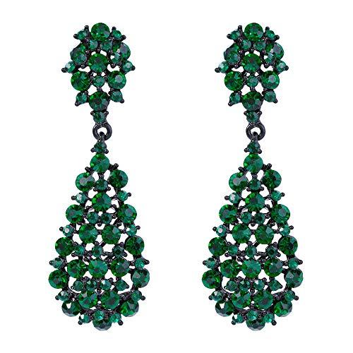 Orecchini donna,EVER FAITH Cristallo Austriaco Art Deco Vintage Style Orecchini pendenti forati Verde Nero-fondo