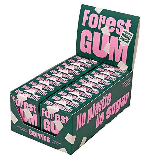 FOREST GUM Berries | Plastikfreies Kaugummi mit Beeren-Geschmack | Pflanzliche Zutaten | ohne Zucker | Vegan | 20 x 20 Gramm