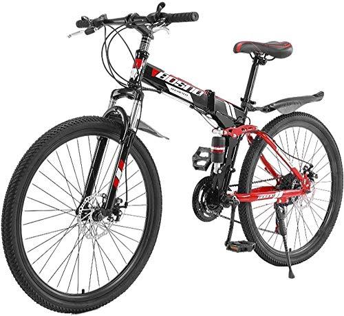 SYCY Bicicleta de montaña de 26 Pulgadas y 21 velocidades Bicicleta de montaña de Aluminio con suspensión Completa Bicicletas de Carretera con Frenos de Disco Bicicleta con suspensión Completa MTB