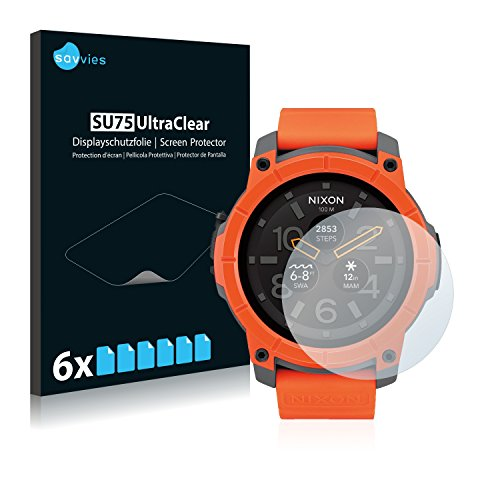 Savvies 6X Schutzfolie kompatibel mit Nixon The Mission Bildschirmschutz-Folie Ultra-transparent