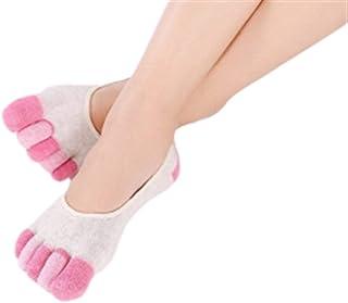 6PCS Damas invisible calcetines del dedo del pie Calcetines Mujeres Cinco calcetines del barco calcetines del dedo del pie cómodo salvaje calcetines del dedo pegan la Cinco Suave