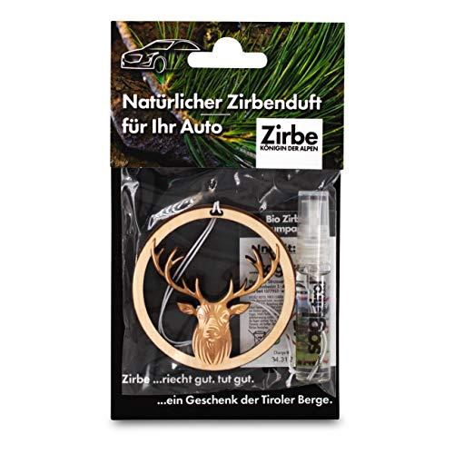 sagl.tirol holzmanufaktur Natürlicher Autoduft aus Zirben Holz inkl. 5ml Zirben Raumparfum Hirsch
