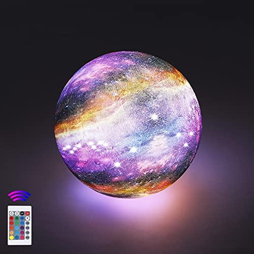 12cm Lámpara Luna 3D, OxyLED Brillo Regulable 16 Colores RGB Recargable USB Control remoto y Control táctil LED Lunar Luz Nocturna Decorativa para Dormitorio, Salón, Regalo para Mujeres y Niños