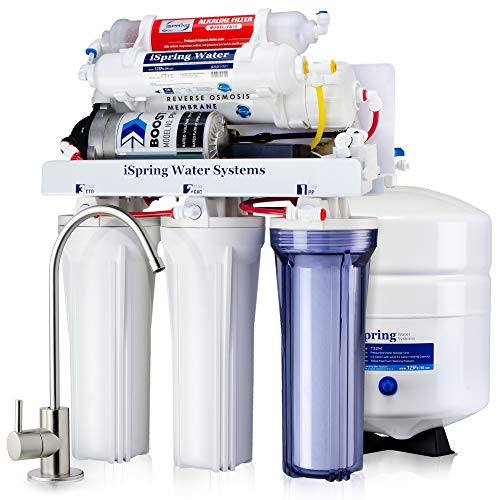 iSpring RCC7P-AK High Capacity, Boosted Performance Under Sink 6-Stage Reverse Osmosis Drinking Water Filtration System and Ultimate Water Softener with Alkaline Remineralization and Pump WQA Gold Seal
