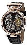 Calvaneo 1583 Herren-Armbanduhr Compendium Rosegold Analog Automatik Leder schwarz 107911