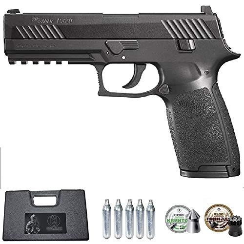 Ecommur. P320 Sig Sauer   Pistola de Aire comprimido y perdigones semiautomática 4,5mm + maletín + 2 Cajas de balines y CO2