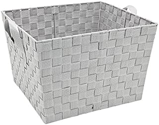 Simplify Decorative Woven Fabric Storage Tote Basket Organizer, Good for Closets, Laundry, Toys, Desks, Floor, Dressers or Counter Tops, Large, Heather Grey