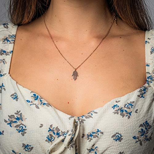 Damen Kette in Rosegold - Filigrane Halskette für Frauen mit Hamsa Hand Anhänger - Made by Nami Handmade Schmuck - Geschenk zum Geburtstag (Roségold Hamsa)