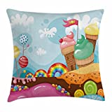 ice cream bar couch - Ambesonne Ice Cream Throw Pillow Cushion Cover, Dessert Land with Rainbow Candies Lollipop Trees and Cupcake Mountains Cartoon, Decorative Square Accent Pillow Case, 16